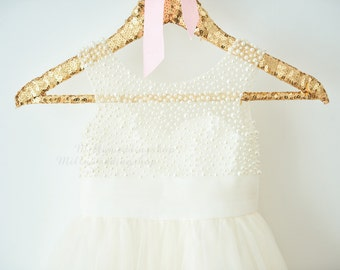 V Back Pearl Beaded Lace Champagne Tulle Flower Girl Dress Wedding Bridesmaid Dress M0055