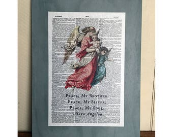 Repurposed Antique Dictionary Page Holiday Wall Decor - Peace - Maya Angelou Quote