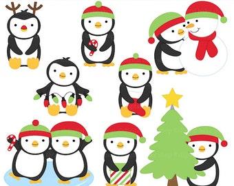 christmas clipart clip art penguins - Christmas Penguins Digital Clip Art - BUY 2 GET 2 FREE