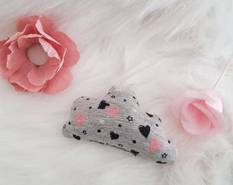 Small fabric cloud heart cat toy pink white stars!