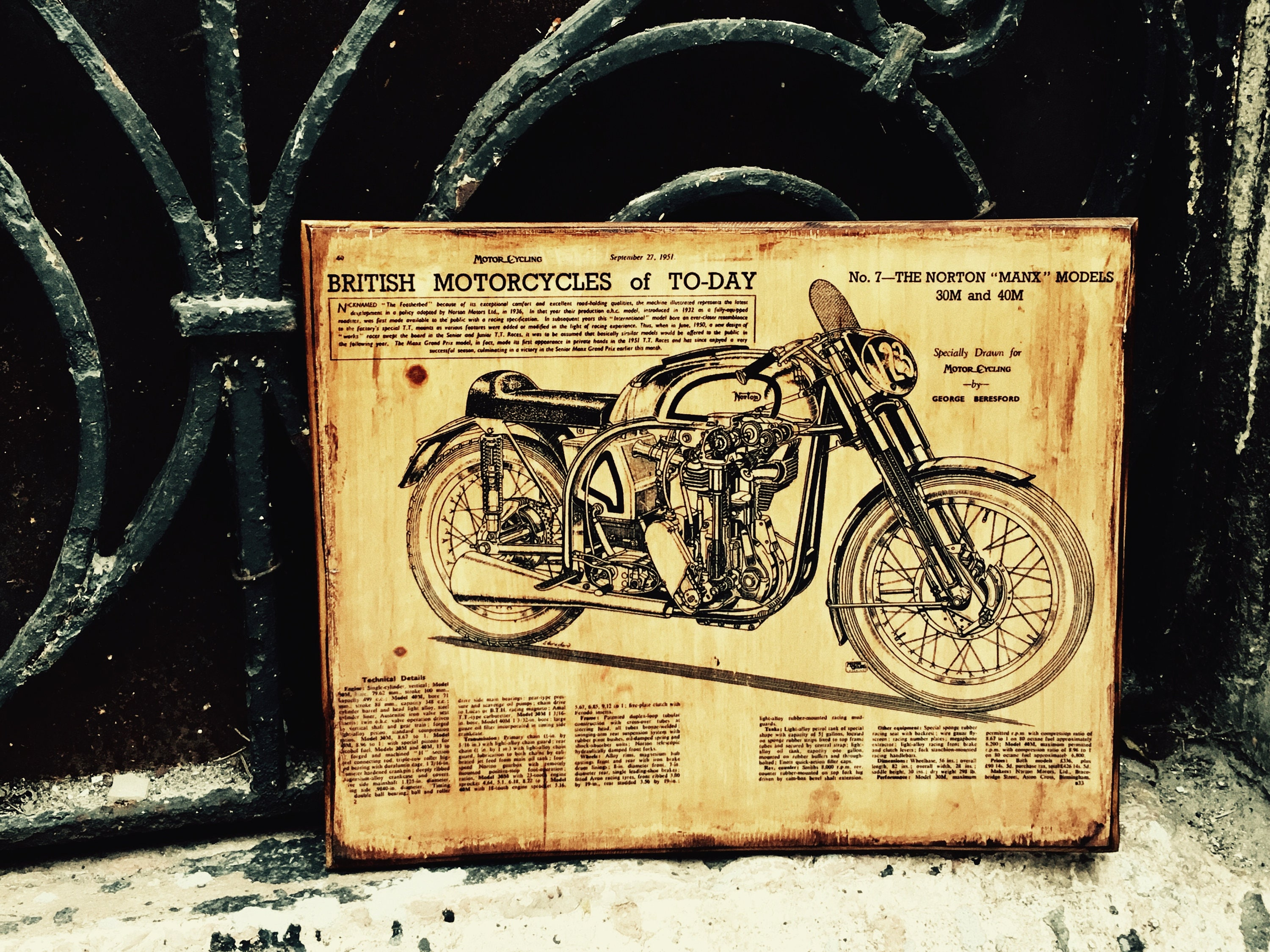 Vintage Norton Manx M30 M40 Motorcycle Wooden Picture Poster