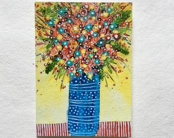 Blue Vase with Flowers, blank greetings card