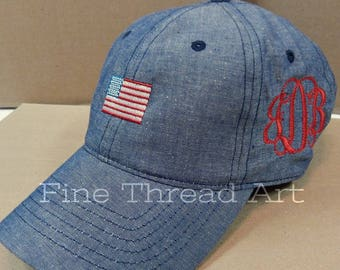 LADIES Mini American Flag Hat with Side Monogram Chambray Baseball Cap Hat USA 4th of July America Red White Blue Denim Jean Stars Stripes