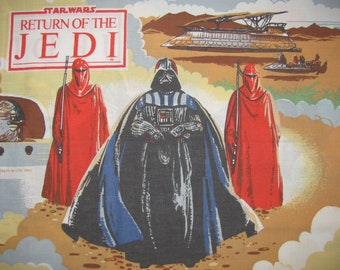 Vintage Star Wars Return of the Jedi Pillowcase - Standard/Twin Size - Jabba the Hutt, Darth Vader, Imperial Guards, Chewbacca, R2D2