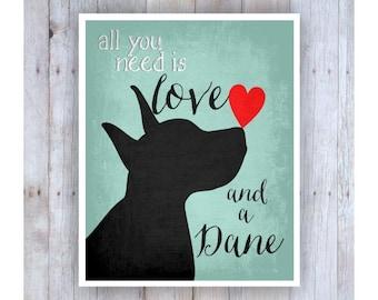 Great Dane Art, Dog Art, All You Need is Love, Dog Lover Gift, Dog Decor, Dog Wall Art, Great Dane Decor, Cute Dog Art, Dog Love