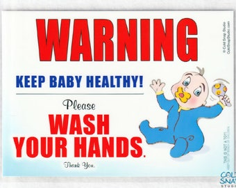 Wash Your Hands Baby Boy Sign