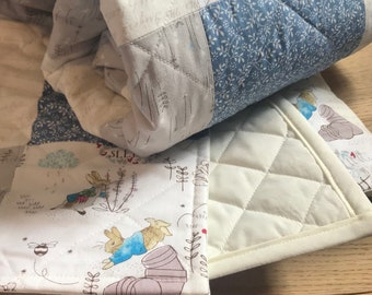 Beautiful Handmade Peter Rabbit Patchwork cot quilt