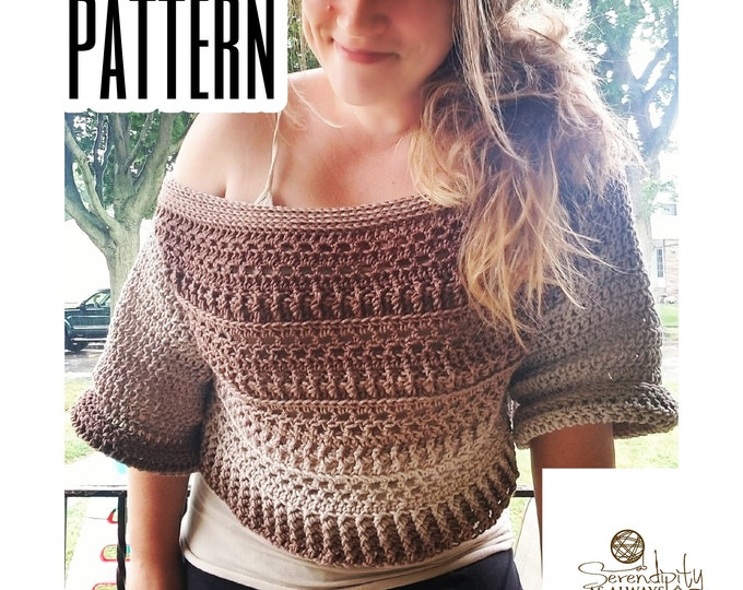 Featured listing image: Fall Slouchy Sweater Crochet PATTERN | Women's Off The Shoulder Crop Sweater Pattern | Felicity Sweater Pattern | PDF Digital Download
