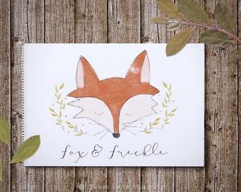 Watercolor Fox Logo - premade logo - handdrawn whimsical watercolor logo - photography logo