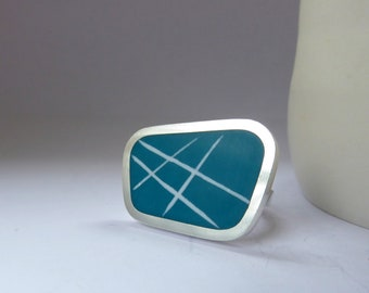 Teal Blue Rectangular Ring - Modern Silver & Resin Ring - Striped Ring - Gift for her - Graphico Landscape Ring Stripes
