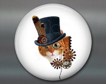 "3.5"" steampunk cat magnet, cat decor, steam punk decor, cat fridge magnet kitchen decor, large fridge magnet, housewarming gift MA-1013"