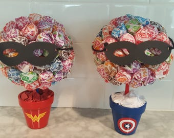 Dum Dum Superhero Lollipop Candy Bouquet / Centerpiece