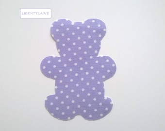Applied fusible large Teddy bear purple dot fabric