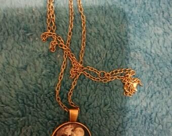 Beautiful Wolf Spirit cabachon pendant on bronze chain