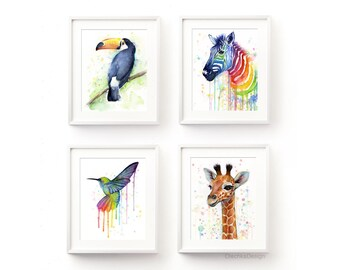Nursery Wall Art Decor Rainbow Nursery Art Prints Animal Watercolor Painting Art Print Set of 4 Prints Baby Giraffe Hummingbird Zebra Toucan