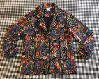 1990's, cat tapestry, blazer, Women's size Medium