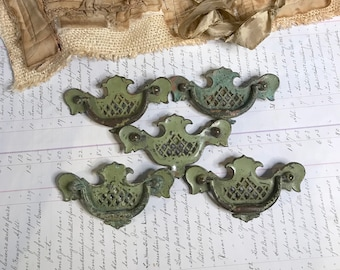 Vintage GREEN PAINTED Furniture Hardware- Salvaged Drawer Pulls- Grungy Distressed Patina- Altered Art Supply Dresser Hardware