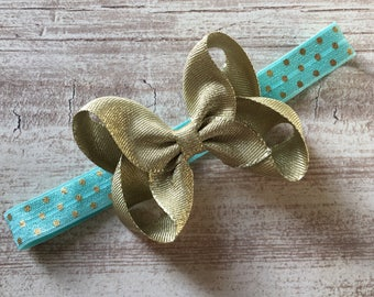 Gold & Aqua Medium Bow Stretchy Elastic Headband