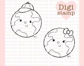 Earth Kids Digital Stamp - Earth Stamp - Digital Earth Stamp - Earth Art - Earth Card Supply - Earth Craft Supply
