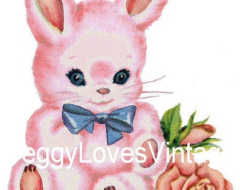 Pink Bunny with Blue Bow Digital Image from Vintage Greeting Cards - Instant Download
