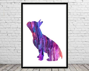 French Bulldog, French Bulldog sitting, watercolor Bulldog, dog print, home decor, watercolor print dog, animal art, dog (3026b)