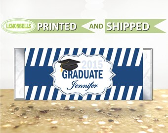 Printed Graduation Candy Wrapper, Graduation Candy Bar, Graduation Party Favors, Blue Graduation Party Favors, Graduation Gifts, LemonBells