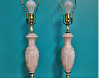 Vintage Vanity Table Lamps Frosted Glass Pair Marble Retro Hollywood Regency