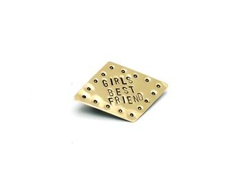Diamond 'Girls Best Friend' Brass Pin Brooch