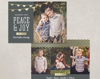 Digital Photoshop Christmas Card Template for photographers PSD Flat card - Gold Banner CC076