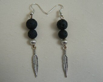 Feather Earrings Lava Aromatherapy Jewellery