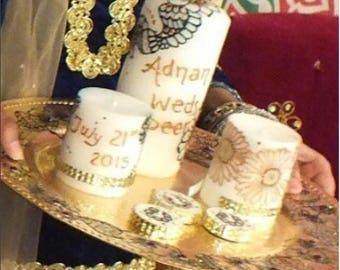 Henna Candles, Tray Set (Custom Made)