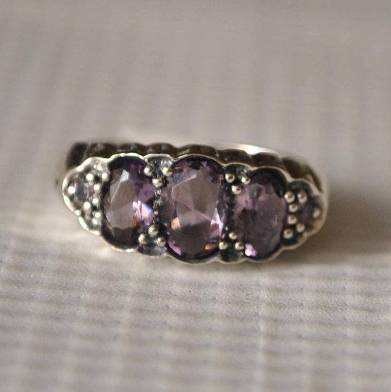 Sterling Silver Amethyst Art Deco Ring Sz 6  #9854