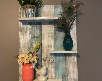Pallet wall shelf, rustic decor, wall shelf, pallet wall shelves, home decor, bedroom decor, bathroom decor