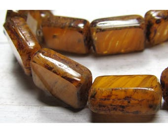 Czech Glass Beads 11 x 8mm Burnt Orange Nugget Smooth Rectangles - 15 Pieces