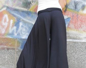 Pants, Black pants, wide skirt pants, long wide pants, extra long pants,casual pants, jersey pants,plus size pants by UrbanMood - CO-ANNY-VL