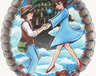 Castle in the Sky Laputa Watercolor Painting Poster Print Illustration Ghibli