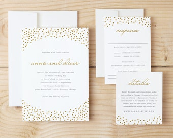 Wedding Invitation Template Download - Gold Dots - Mircosoft Word or Pages - Invitation Printable - INSTANT DOWNLOAD