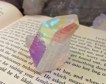 Glowing opal angel aura Quartz cluster