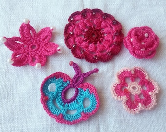 5 crochet embellishments, pink crochet applique, crochet flowers, crochet rose, crochet butterfly, spring flowers, pink craft supplies