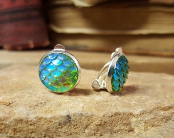 Fast Free Shipping! Nerdy Summer Fantasy Earrings Mermaid Dragon Scales Clip On Studs