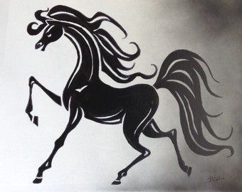 Black and White Horse Art/Painting