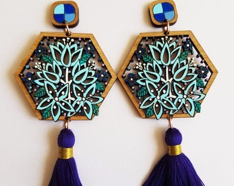 Blue Flower Statement Earring, Blue and Purple Tassel Earring, Statement Tassel Earring