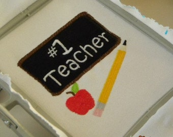 No. 1 Teacher ~ Instant Download ~ Machine Embroidery Design ~ Multiple Formats Available