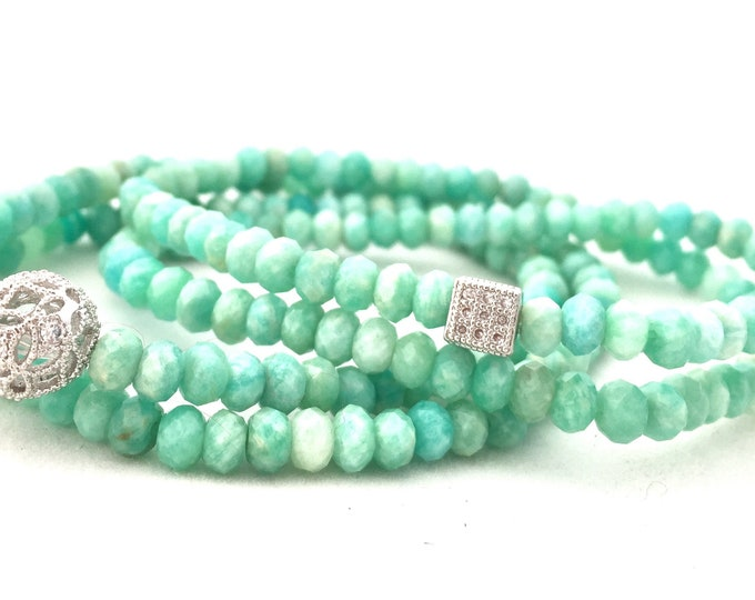 Natural Amazonite Double Wrap Bracelet- Blue Green Gemstone Bracelet- Faceted Natural Amazonite- Gift for Her-  Mothers Day Gift