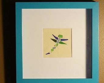 Beach Glass Art - Dragonfly - Blue & Green