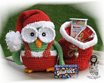 Crochet PATTERN, Collectors item 04 Christmas Owl, Toy, Crochet amigurumi pattern, Home Decor, Christmas, DIY Pattern 33, Instant Download