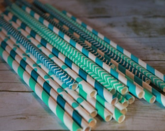 Ocean Party Straws Set of 30 stripes-dots-chevron-solid-Turquoise Aqua Paper Drinking Straws