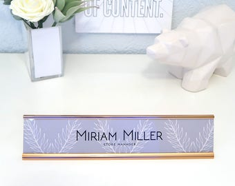 "Custom Nature Nameplate ""Miriam"" - Personalized Desk Name Plate Sign Decor - Office Accessories - Rose Gold Nameplate - Wall Mount Option"