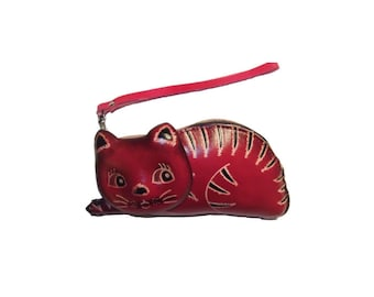 Gifts For Mom - Kitten Purse - Hendrix the Cat - Red Leather Animal Cat Coin Purse - Animal Print - Item #1068