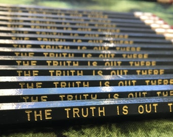 X-Files Inspired Gold Foil Pencils, Imprinted Pencils, Pop Culture Pencils, Custom Hexagon Pencils, The Truth is Out There